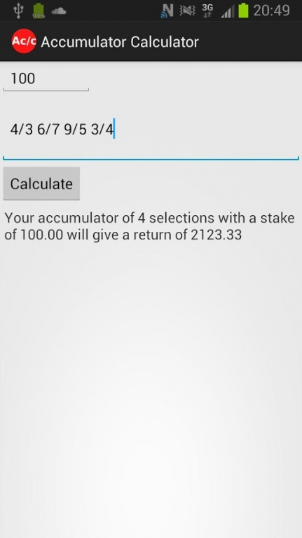 Accumulator Calculator