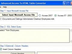 Advanced Access To HTML Table Converter 1.7 Screenshot
