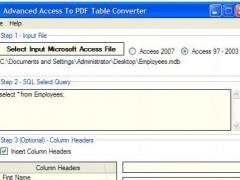 Advanced Access To PDF Table Converter 1.7 Screenshot