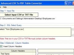 Advanced CSV To PDF Table Converter 1.8 Screenshot