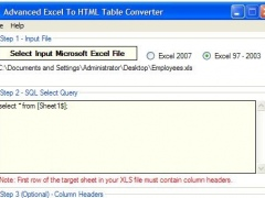 Advanced Excel To HTML Table Converter 1.7 Screenshot