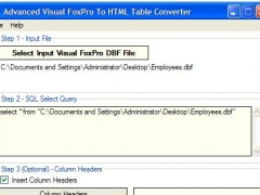 Advanced FoxPro To HTML Table Converter 1.8 Screenshot