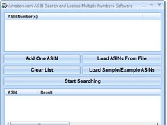 Amazon.com ASIN Search and Lookup Multiple Numbers Software 7.0 Screenshot
