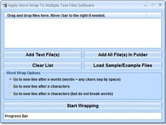 Apply Word Wrap To Multiple Text Files Software 7.0 Screenshot
