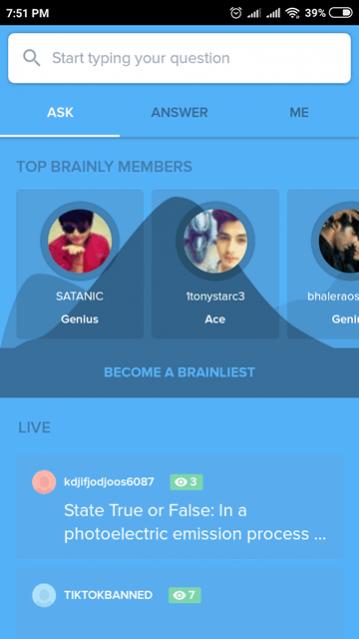 التطبيق المجاني Brainly