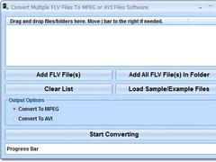 Convert Multiple FLV Files To MPEG or AVI Files Software 7.0 Screenshot