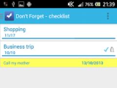 Don't forget - checklist  Screenshot