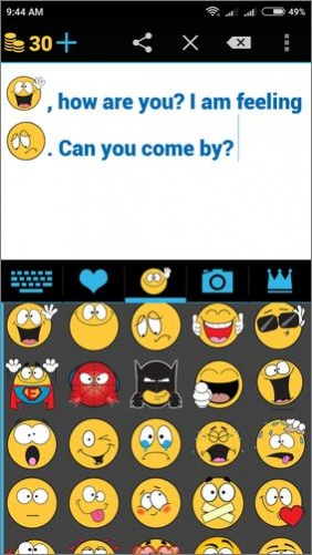Different smileys for texting