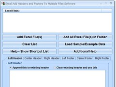 Excel Add Headers and Footers To Multiple Files Software 7.0 Screenshot