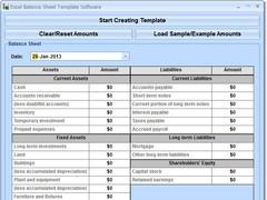 Excel Balance Sheet Template Software 7.0 Screenshot