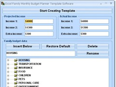 Excel Family Monthly Budget Planner Template Software 7.0 Screenshot