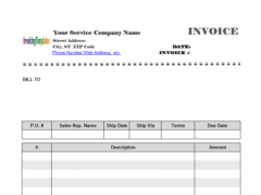 Excel Invoice Template 1.70 Screenshot