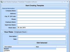 Excel Weekly Employee Timesheet Template Software 7.0 Screenshot