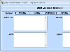 Excel Weekly Meal Planner Template Software 7.0 Screenshot