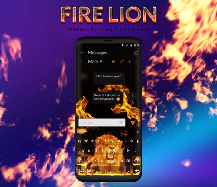 Fire Lion Animated Keyboard Live Free Download