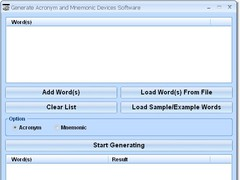 Generate Acronym and Mnemonic Devices Software 7.0 Screenshot