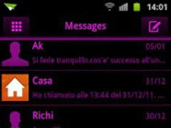 GO SMS Pink Black Neon Theme 1.2 Screenshot