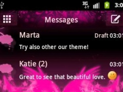 GO SMS Pro Theme Pink Heart 2.8 Screenshot