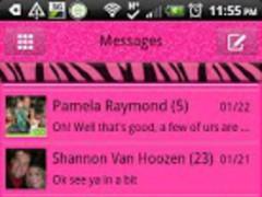 GO SMS - Pink Zebra 2 1.1 Screenshot