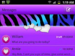 GO SMS - Zebra Wild Hearts 1.1 Screenshot