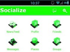 Green W Socialize for Facebook 1.5.8 Screenshot