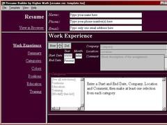 Interactive Resume Builder 2003.6 Screenshot
