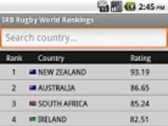 IRB Rugby World Rankings 1.3 Screenshot