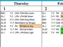 Let Excel Calendar 50 People to 6 Shifts 1.6 Screenshot