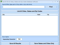 List Of All US Cities, States and Zip Codes Database Software 7.0 Screenshot
