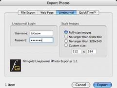 LiveJournal iPhoto Exporter  Screenshot