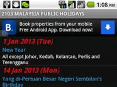 Malaysia Public Holidays 1.1.2 Screenshot