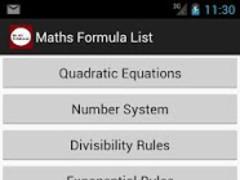 Maths Formula List 1.1.1 Screenshot