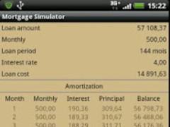 MortgageSimulatorDroid 1.2 Screenshot