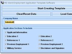 MS Word Employment Application Template Software 7.0 Screenshot