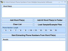 MS Word Extract Phone Numbers From Multiple Documents Software 7.0 Screenshot