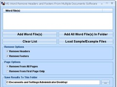 MS Word Remove Headers and Footers From Multiple Documents Software 7.0 Screenshot