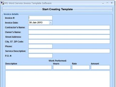 MS Word Service Invoice Template Software 7.0 Screenshot