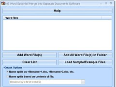 MS Word Split Mail Merge Into Separate Documents Software 7.0 Screenshot