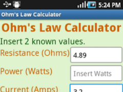 Ohm's Law Calculator 1.0 Screenshot