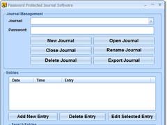 Password Protected Journal Software 7.0 Screenshot