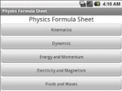 Physics Formula Sheet 1.0.3 Screenshot