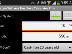 Pipe Headloss Calculator Plus 1.5.2 Screenshot