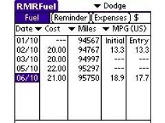 RMRFuel for Palm 1.3 Screenshot