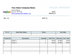 Sales Invoice Template With Discount Free Download