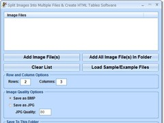 Split Images Into Multiple Files & Create HTML Tables Software 7.0 Screenshot