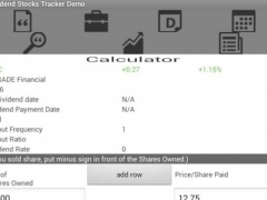 Stocks Dividend Tracker Demo 1.5 Screenshot