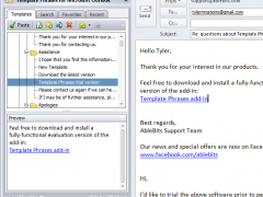 Template Phrases for Microsoft Outlook 3.0 Screenshot