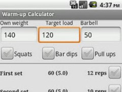 Warm-up weight calculator. 0.8 Screenshot