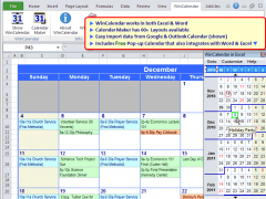 WinCalendar for Windows, Word and Excel 4.31 Screenshot